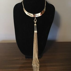 Stunning Gold and Natural Stone Necklace w/ Tassel